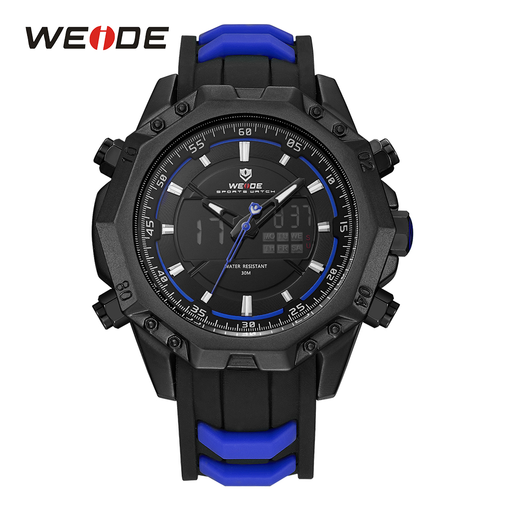 WEIDE Men Analog Back Light Alarm Silicone Strap Stopwatch Chronograph Date Day LCD Digital Display Sport Quartz Wristwatch weide men sports watch quartz digital lcd display stopwatch silicone strap buckle date black dial military wristwatches for man