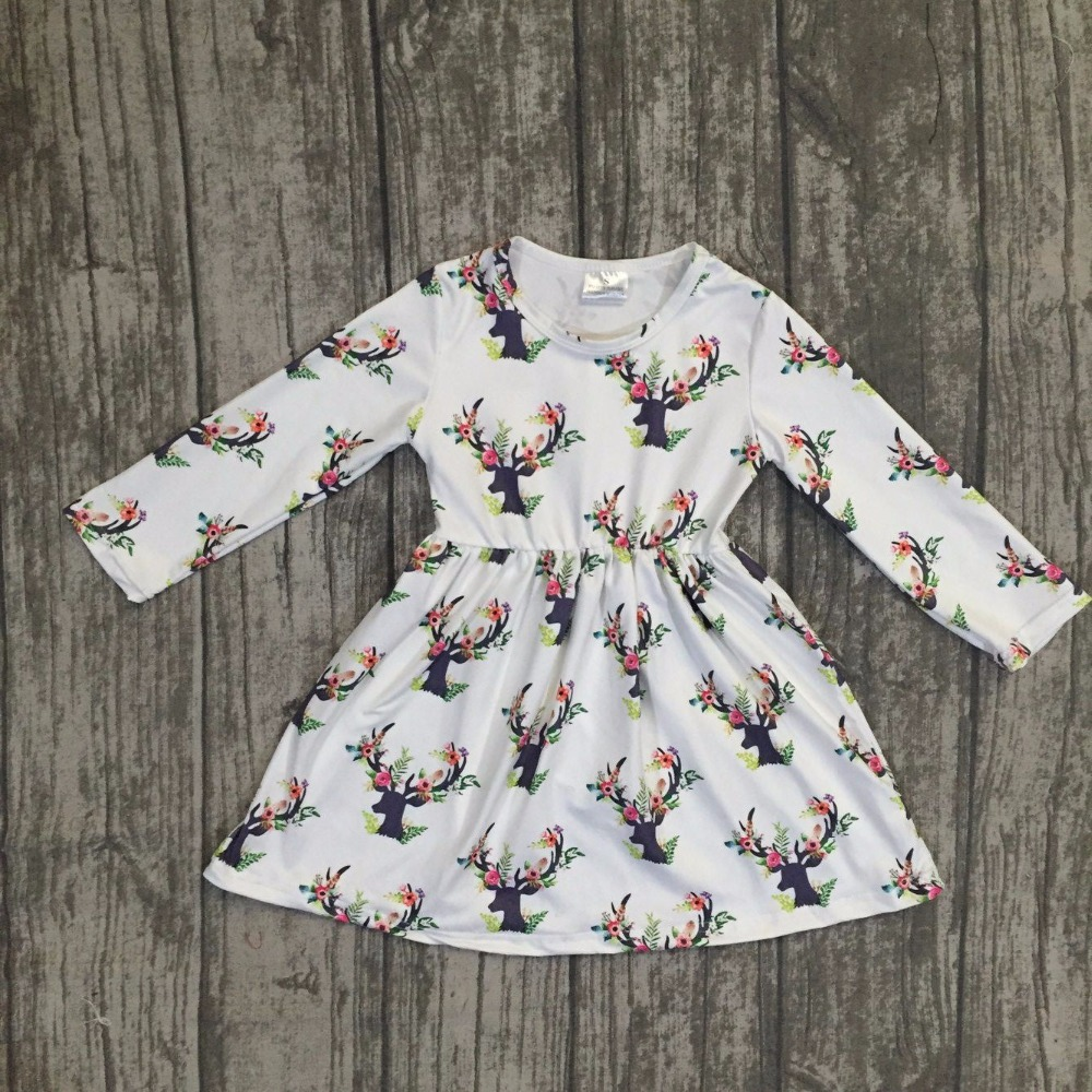 fall/winter baby girls milk silk soft cotton dress white reindeer floral print ruffle long sleeve children clothes boutique kids джинсы just cavalli just cavalli ju662ewjdd48