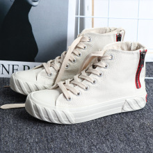 White High Help Zipper Canvas Shoes Women Sneakers Off New Harajuku Lace Up Womens Woman Trainers