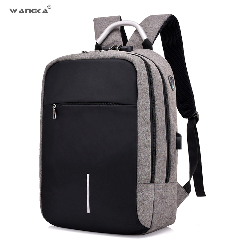 WANGKA Anti Theft Laptop Backpack for Men 15 inch With USB Charging Notebook Bagpack Fashion Travel School Backpack Women 2018