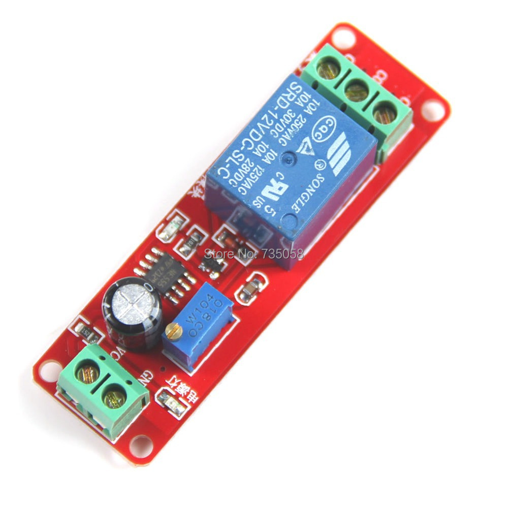1Pc Red DC12V Pull Delay Timer Switch Adjustable Relay Module 0 to10 Second T1098 P 1pc multifunction self lock relay dc 12v plc cycle timer module delay time relay