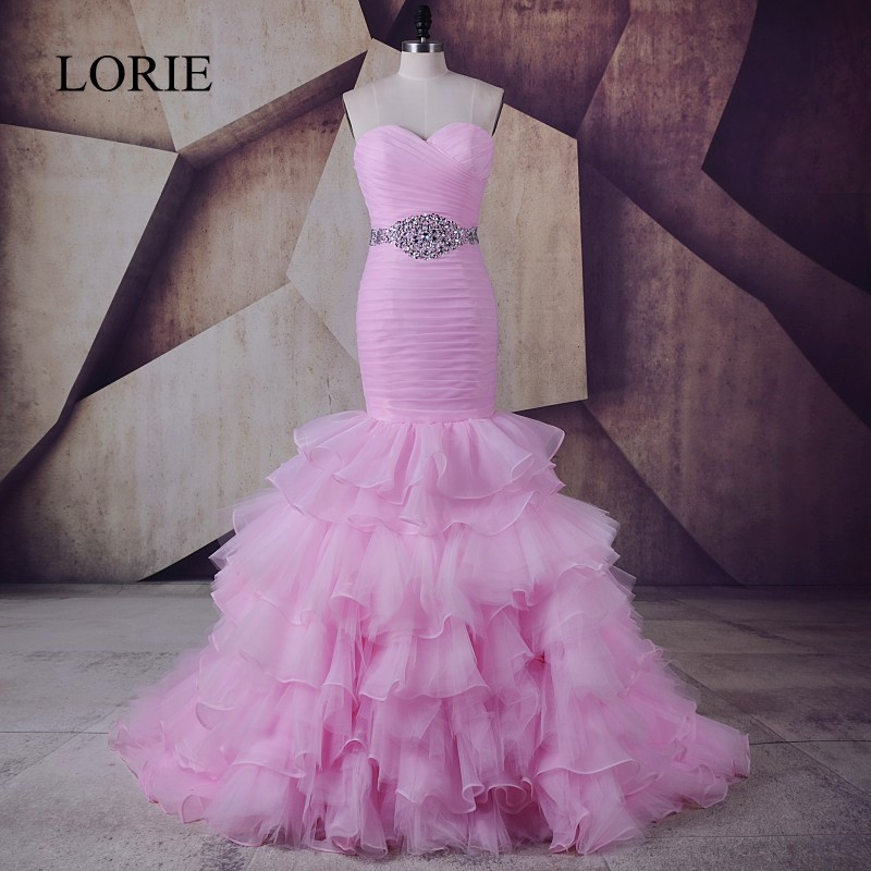 LORIE Mermaid   Prom     Dress   Pink Vestidos de gala largos 2017 Sweetheart Ruffles Organza Evening Gown Elegant Women Party   Dresses