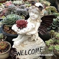 Outdoor Gardening Angel Welcome Sculpture Decoration Cement Flower Pot Crafts Courtyard Park Statue Figurines Villa Furnishing