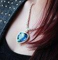 Heart of The Ocean Staterment do Amor de Luxo Tamanho Grande Azul Cristal Austríaco Pingente de Colar Para A Elegância Das Mulheres de Jóias