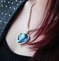 Heart of The Ocean Staterment of Love Luxury Big Size Blue Austrian Crystal Pendant Necklace For Elegance Women Jewelry