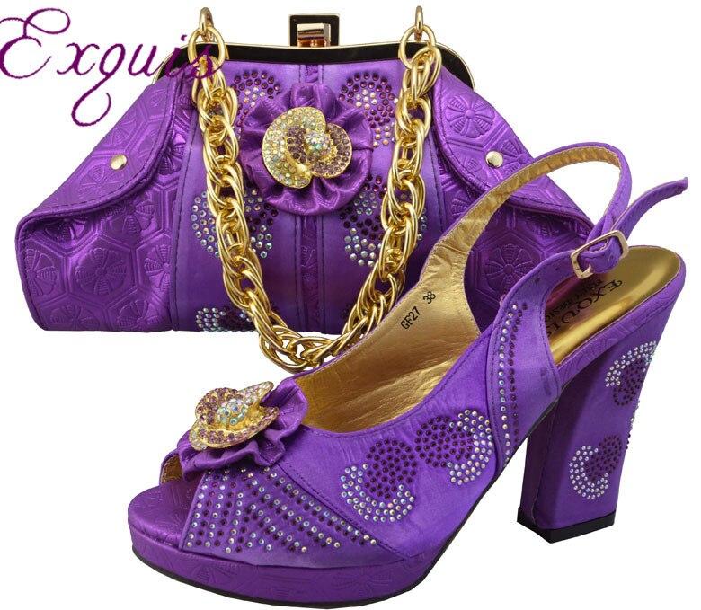 ФОТО Free Shipping By DHL!!Fashion woman italian matching shoes  and bags set,party Italian shoe and bag with rhinestone GF27 Purple