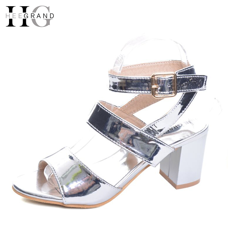 HEE GRAND Gold Silver High Heels 2017 Summer Gladiator Sandals Sexy Platform Shoes Woman Casual Shoes Size 35-43 XWZ4075 hee grand gladiator sandals summer style 2017 new flat with shoes woman zip casual sexy women shoes ladies size 35 39 xwz1858