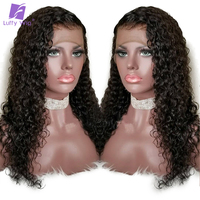 LUFFY Curly Full Lace Human Hair Wigs Pre Plucked With Baby Hair Glueless Brazilian Non Remy Hair 130% Density Free Parting