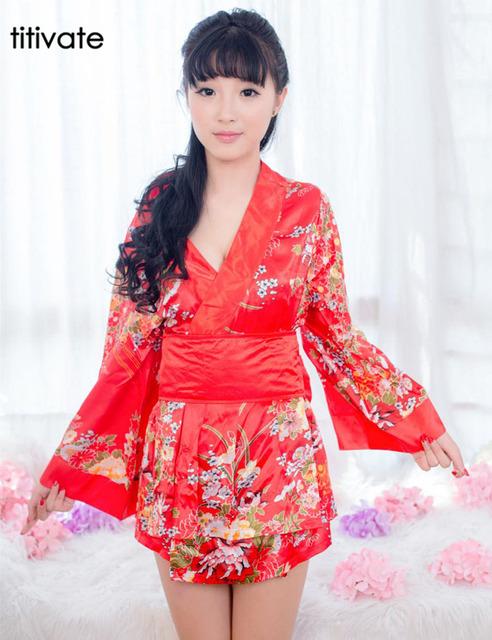 Sexy Women Satin Kimono Robe De Banho Sleepwear Vermelho Lingerie Lingerie de Alta Emulação Camisola de Seda do Pijama Nighties Vestido Vestido