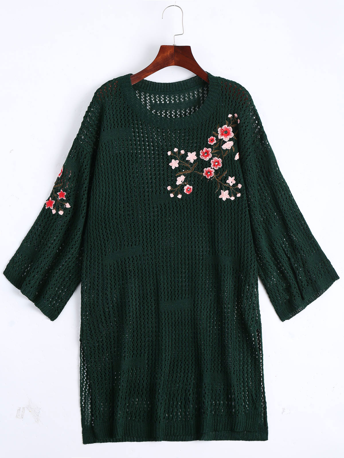 Gamiss Knitted Sweater Floral Embroidered Dress Women Oversize ...