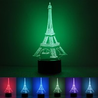 3D Illusion Romantic Eiffel Tower LED Colorful Light Blue Lighting USB For Bedside Bedroom Table Desk