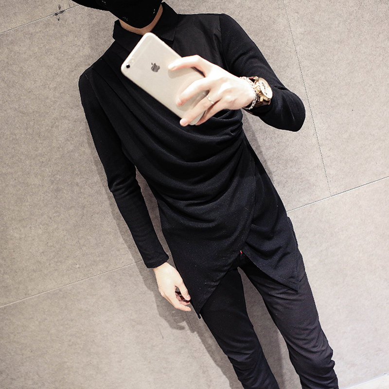 d5339ad91b6 NEW 2017 Autumn hairstylist Korean men s fashion clothes tide Slim personality  long-sleeved shirt nightclub