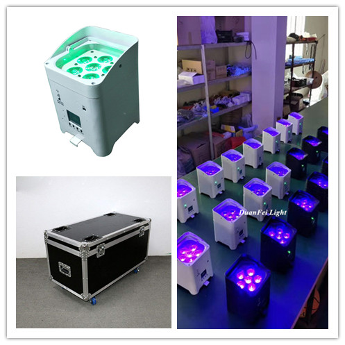 Us 1597 8 8pcs Lot Chargetable Wireless Uplighting 6x18w Led Par Rgbwauv Battery Ed Wifi Control Can With Flycase In Stage Lighting
