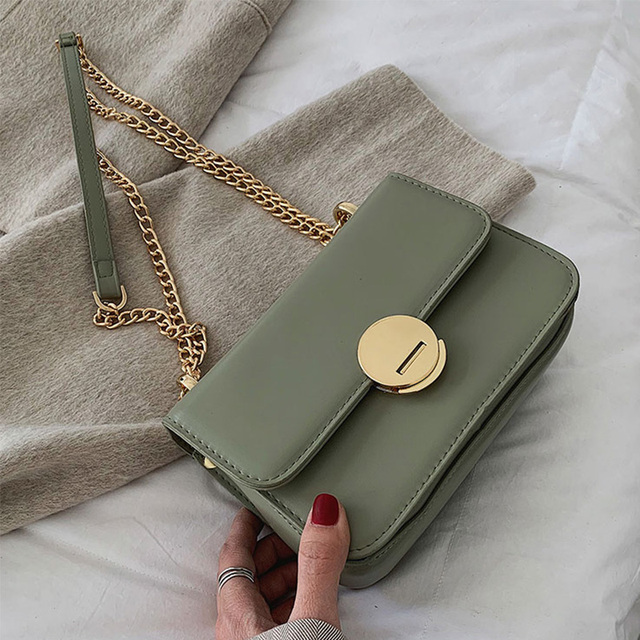 ETAILL Brand New 2019 Women Crossbody Bags Small Green Square Flag Bag with Gold Chain High Quality PU Leather Designer Bags