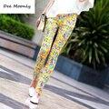 2016 летом новая мода Китайский стиль Синий и Белый Фарфор шаблон джинсы леди конфеты цветные повседневные брюки карандаш брюки