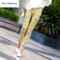 2016 summer new fashion Chinese style Blue and White Porcelain pattern jeans lady candy colored casual trousers pencil pants