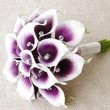 Искусственная Калла, лилии, свадебные букеты, фиолетовые, для свадебной вечеринки, цветы, свадебные цветы, хрустальные, свадебные букеты buque de noiva