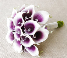 Artificial calla lilies wedding bouquets purple party flowers crystal bridal buque de noiva