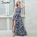Simplee Холтер спинки лето dress женщины Цветочный печати пляж платья сплит длинные dress Элегантный sexy maxi dress женский vestidos