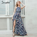 Simplee halter backless summer dress mujeres playa de la impresión floral vestidos de split larga dress elegante sexy maxi dress vestidos femenino