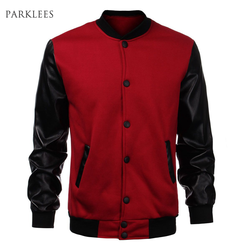 Cool Mens Wine Red Baseball Jacket Autumn Fashion Slim Black Pu Leather Sleeve Bomber Jacket Jaquetas