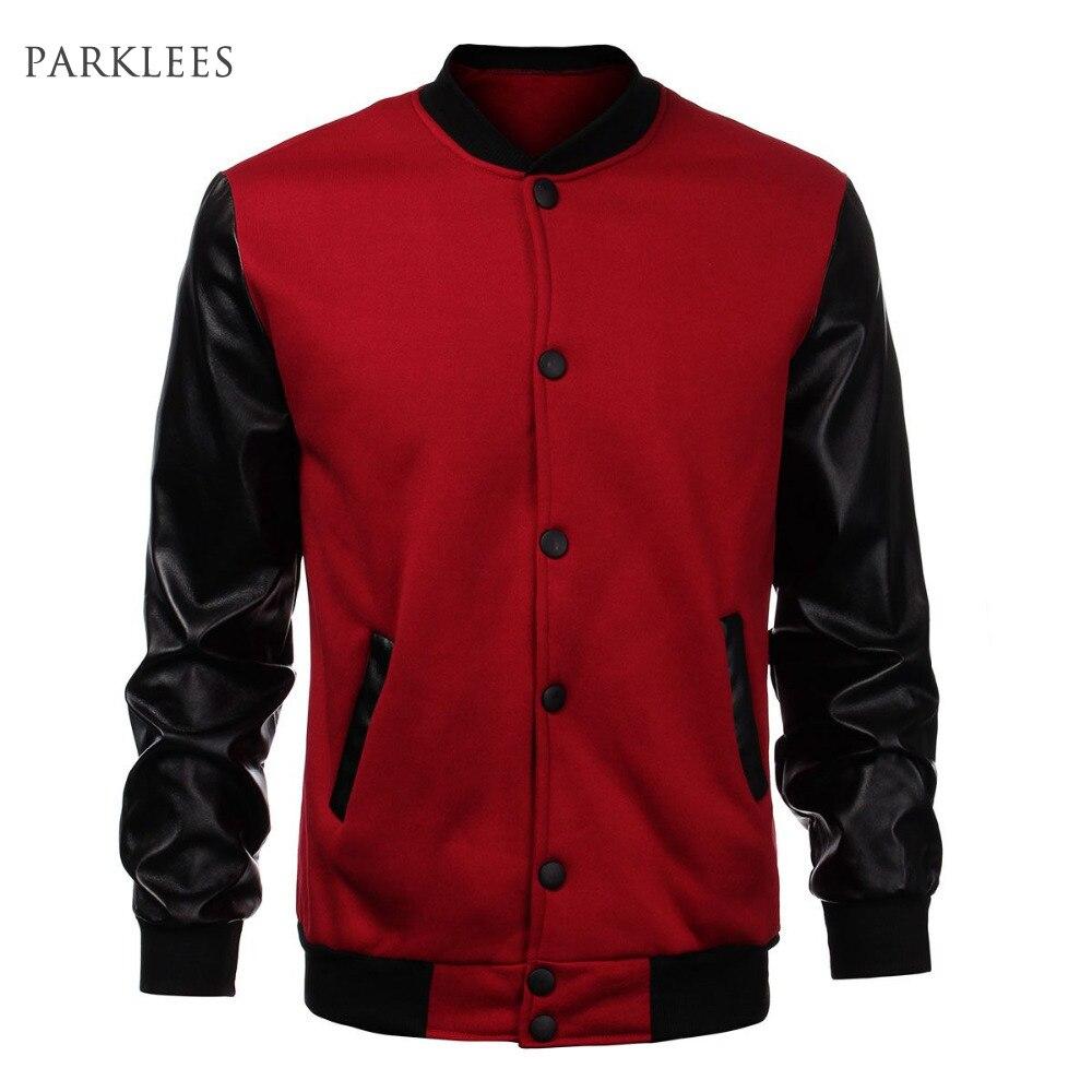 Cool <font><b>Mens</b></font> Wine Red Baseball Jacket Autumn Fashion <font><b>Slim</b></font> Black Pu Leather Sleeve Bomber Jacket Jaquetas <font><b>Men</b></font> Brand Varsity Jackets