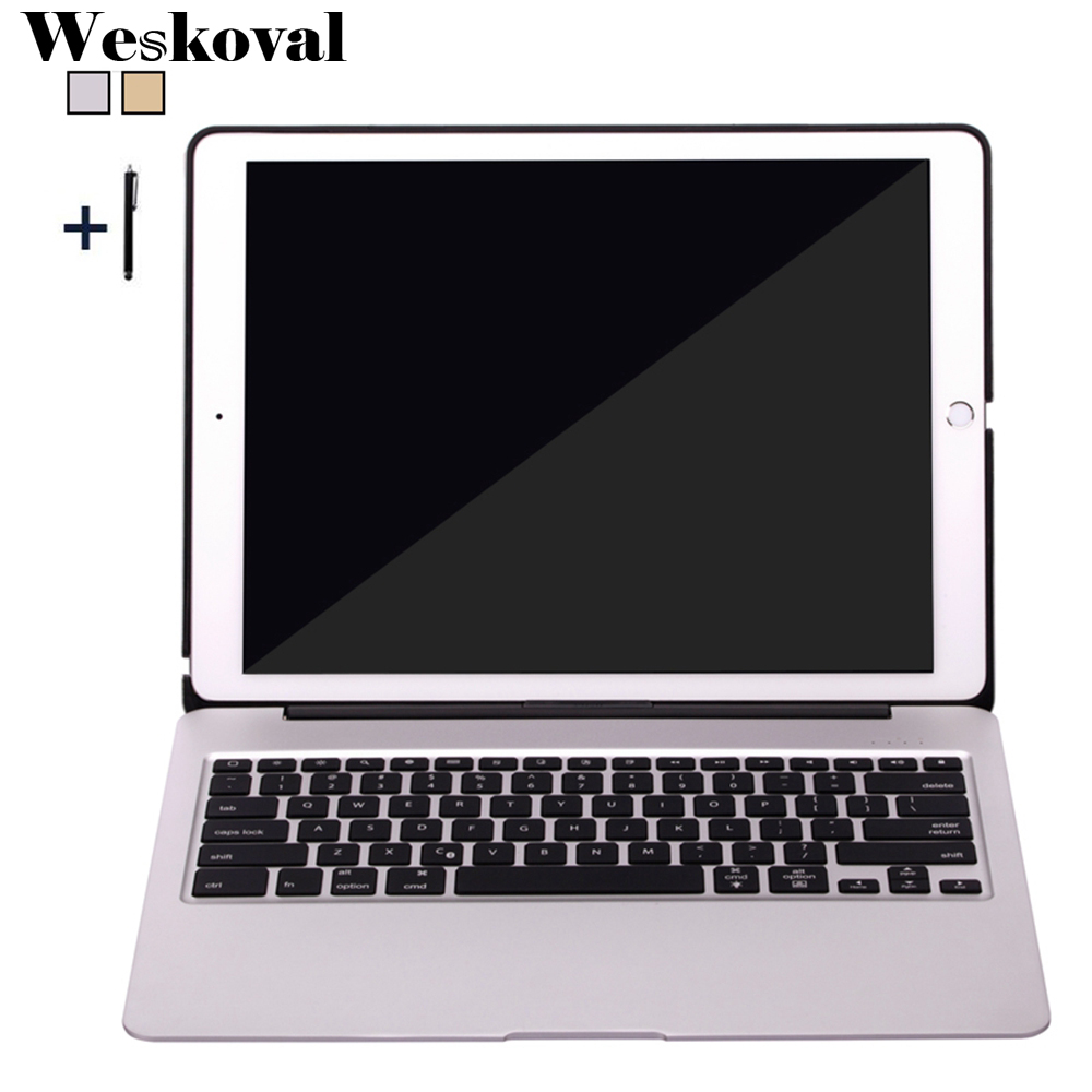 For iPad Pro 12.9 inch (2015) Wireless Bluetooth Keyboard Case For iPad Pro 12.9'' 2017 Tablet Aluminum Alloy Stand Cover+Stylus