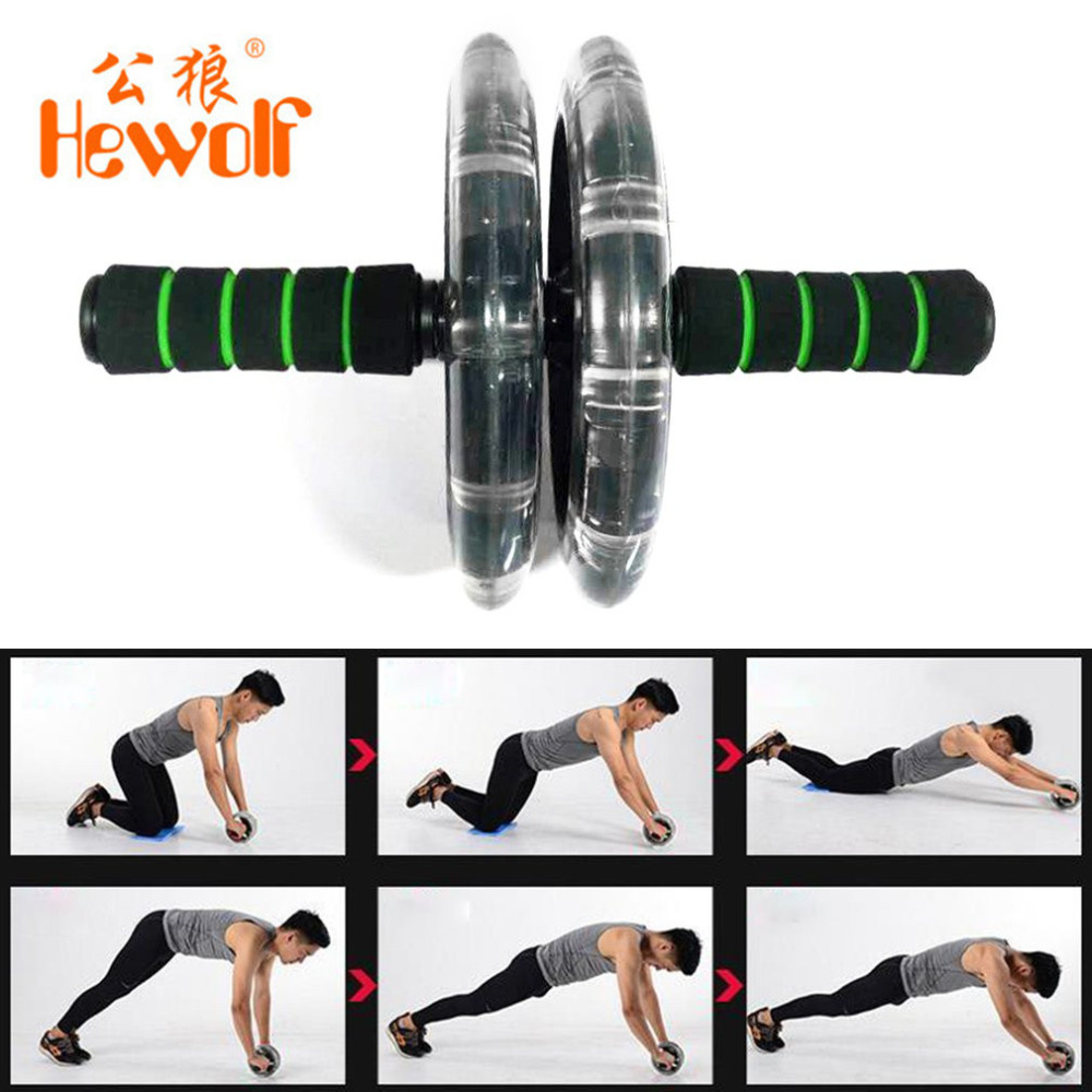 200mm Double-wheeled Muscle Trainer Abdominal Wheel Noiseless Abdominal Roller Gym Tool Fitness Equipment Exercise Accessory HOT