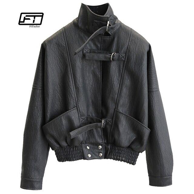 577d720b201 Fitaylor Harajuku Faux Leather jacket Batwing Sleeve Loose Biker Coat  Casual Autumn Women PU Outwear Punk Bomber Jackets