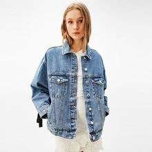 M spring and summer new straps female loose commuter wind long sleeve jacket denim