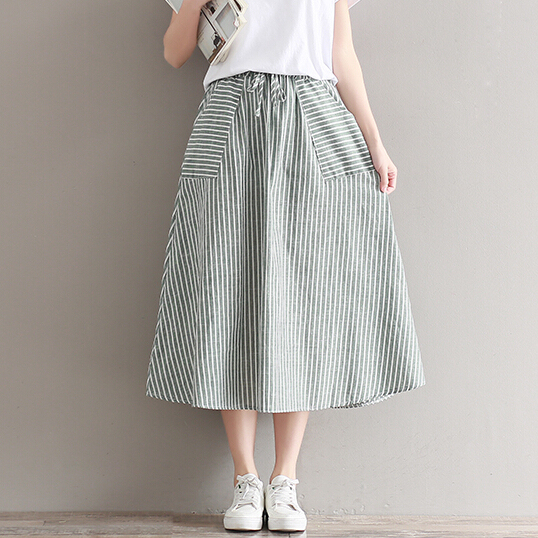 new summer Japanese female stripe cotton and linen long skirts