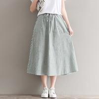 New Summer Japanese Female Stripe Cotton And Linen Long Skirts