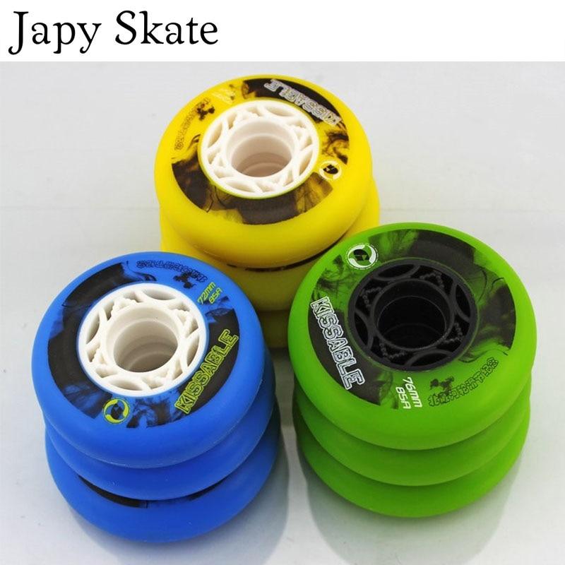 Prix pour Jus japy Skate Kissable Rouleau De Patinage Roues Slalom Coulissante 85A Inline Skate Chaussures Roue De SEBA Powerslide Glisser Patine 72 76 80mm