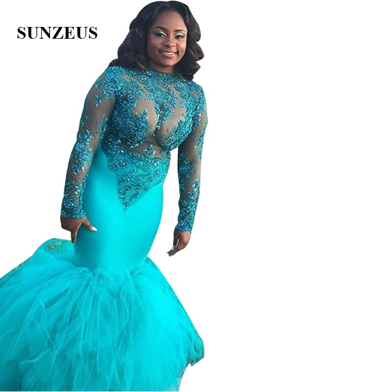 Beaded Appliques Mermaid   Prom     Dress   High Neck Long Sleeves Sheer Party Gowns Mermaid Long Women   Dress   Gala