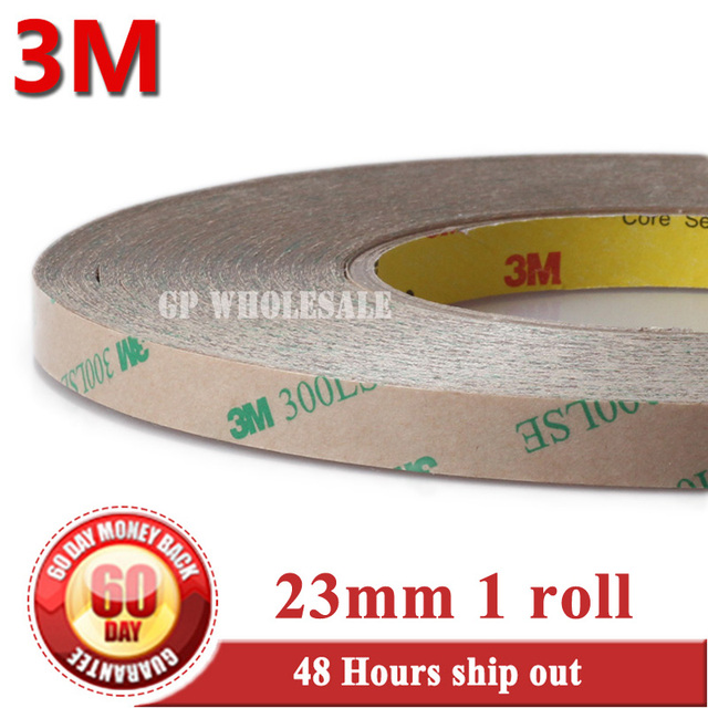 23mm width*55M 3M 9495LE 300LSE Ultra Strong Adhesion, Clear PET Double Sided Sticky Tape, Waterproof, Hi-temp Resist