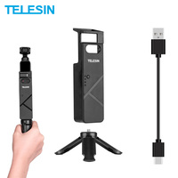 TELESIN Portable Handled Charger Selfie Stick Mini Tripod Mount Holder with Type C Cable For DJI Osmo Pocket Gimbal Camera