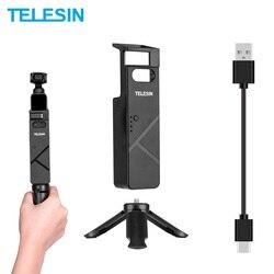 TELESIN przenośna ładowarka Selfie Stick Mini uchwyt do statywu z kablem typu C do DJI Osmo kieszonkowa kamera kardanowa