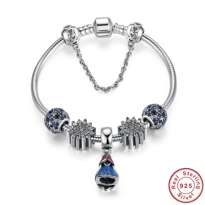 High-end Europe USA S925 sterling silver charm bracelet bangle with safety chain for women DIY charm beads bracelet Pulseira graceful multilayered pentagram charm bracelet for women