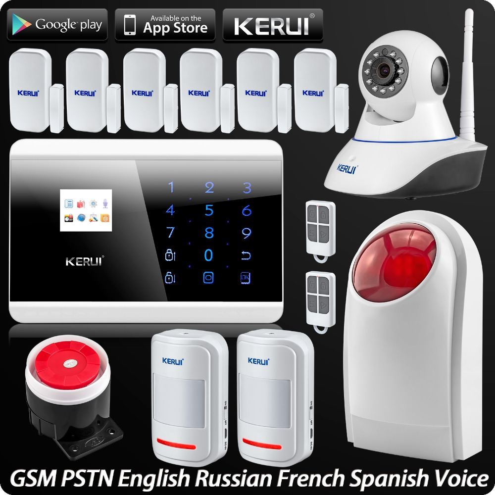 IOS Android APP Remote Control Wireless GSM PSTN Home Security Alarm System + Wireless Flash Siren Wifi IP Camera wireless gsm pstn home alarm system android ios app control glass vibration sensor co detector 8218g