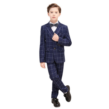 Formal Boy Wedding Dress Suit Sets British Style Children's Plaid Blazer + Pants Outfits Kids Show Hosted  Piano Party Costumes