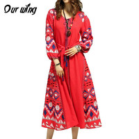 BOHO Ukraine Women Dress Linen Embroidered Pattern Sleeve Pompone Tassels Mid Calf Dress Robe Vestidos Women Clothing 2017