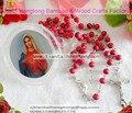 Envío gratis 9 unids/pack perfume perfumado rosa collar del rosario/rosa centro de rosario con la virgen maría y de plástico santa caja