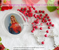 free ship 9pcs/pack perfume rose scented rosary necklace/ pink bead rosary with virgin mary center and plastic saint box