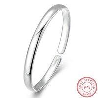 925 Sterling Silver Adjustable Simple Style Pulsera Smooth 925 Silver Cuff Bracelets Bangle Open Charm Bracelet
