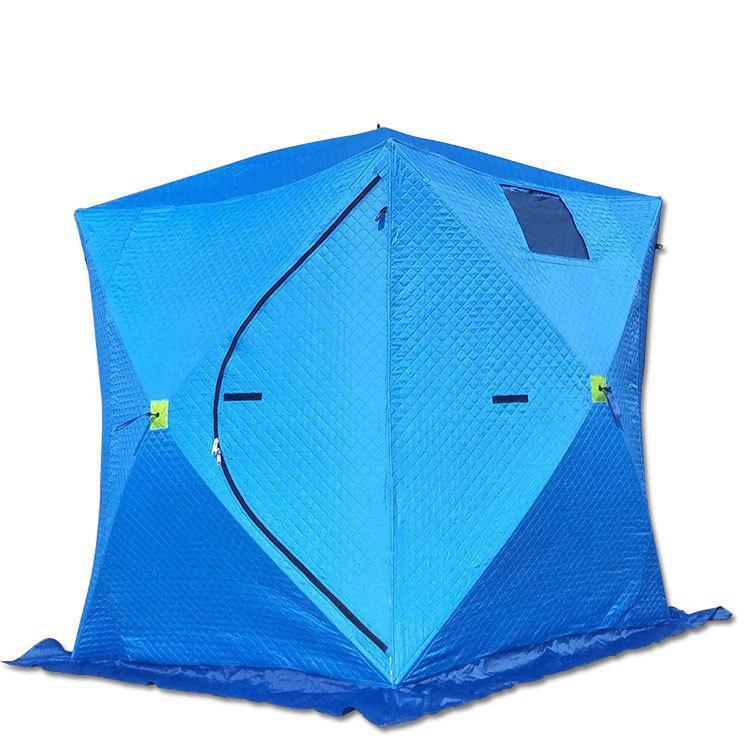 Tente de pêche sur glace d'hiver à 2 couches épaisses 210x210x210 cm automatique grande tente chaude en coton à ouverture rapide pour l'hiver