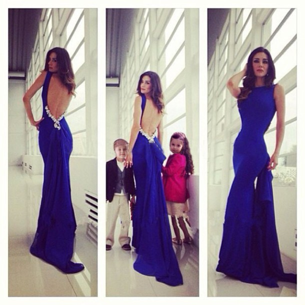 Backless Mermaid Royal Blue Prom Party Gown High Neck Spaghetti Straps Beading Fish Tail Vestido De Festa Bridesmaid Dresses