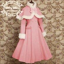 Лидер продаж, японское Дешевое шерстяное милое пальто с капюшоном в стиле Лолиты, зимние пальто для девочек, брендовый длинный Зимний плащ