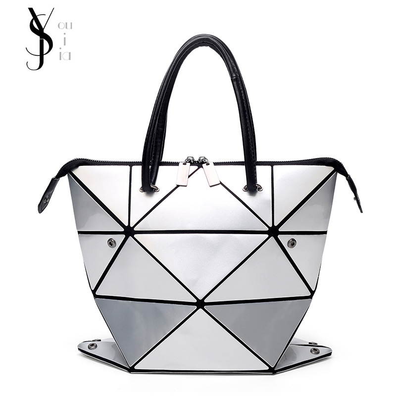 New Fashion Folded Women Handbags PU Leather Bag Famous Designer Geometric Shoulder Bag Women Diamond Tote Bags недорго, оригинальная цена