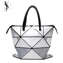 Новая мода сложенном Для женщин Сумки из искусственной кожи BAOBAO сумка известный дизайнер Геометрическая Сумка Issey miyak Алмаз Тотализатор Сумки