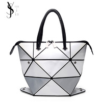 2017 Fashion Stone Bag Women Tote Fold Summer Issey Miyak Hand Bag Laser Geometric Designer Handbags